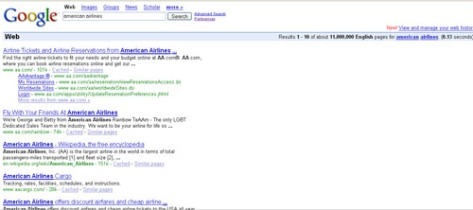Google search result for keyword American Airlines
