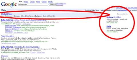 Google search result for keyword Delta