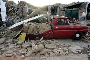 Site in Pisco after the 2007 Peru Earthquake - photo by Telegraph.co.uk