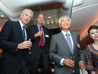 CEO's celebrating the delivery of the first A380 to Singapore Airlines