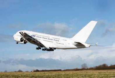 Airbus A380 flies on alternative fuel (photo from China Post)
