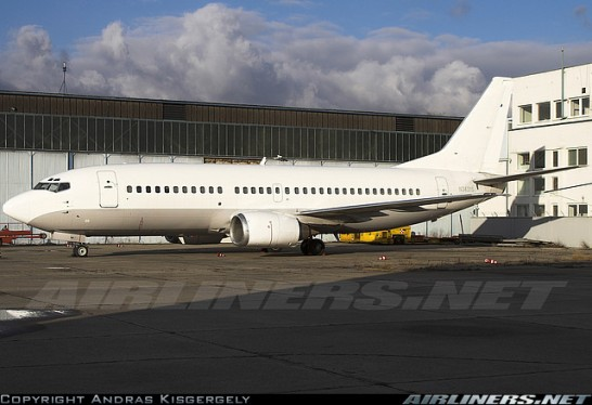 White Boeing 737 in Bratislava (from airliners.net)