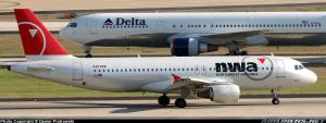 Delta and Northwest planes in Atlanta, Delta\'s Hub Airport