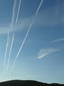 Cirrus clouds + plane gas