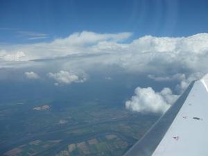 Stratus and cumulus clouds