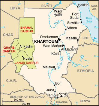 Map of the Darfur region