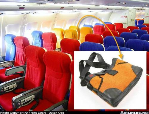 Virgin Seat Covers Recycled to Worn Again Lydia Bags (background picture from airliners.net - by Frans Zwart)