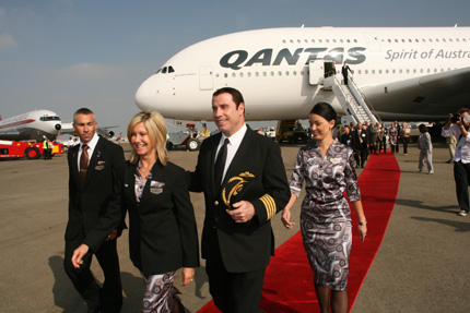 Qantas A380 ft John Travolta