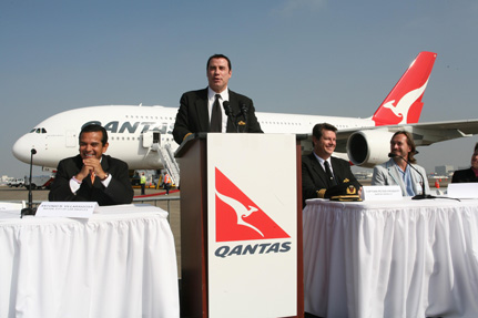 Qantas A380 welcome ceremony, LA