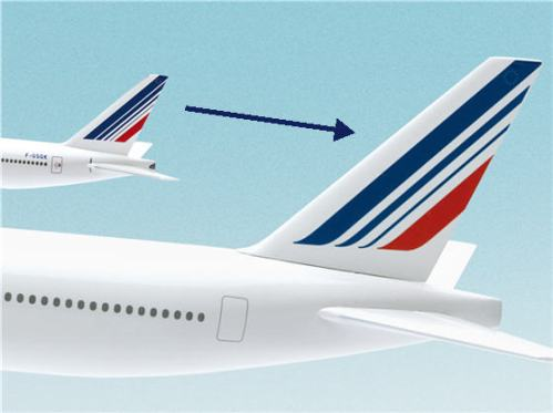 Old and new Tail designs for Air France