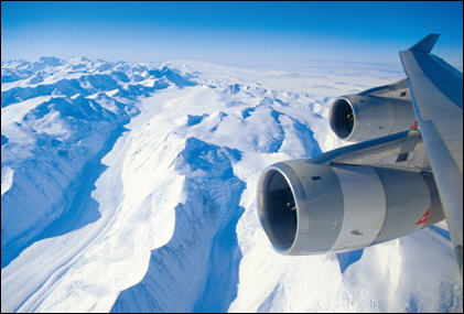 Qantas Boeing 747 Flying Over Antarctica - by Antarctica Flights
