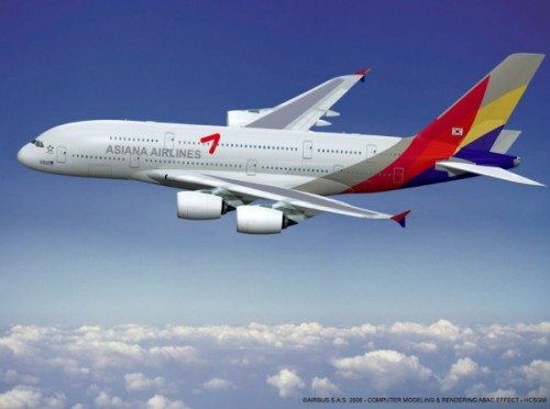 Airbus A380 in Asiana colors