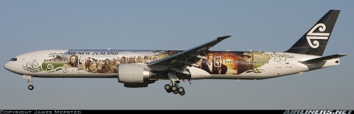"Air New Zealand Boeing 777-300ER in special ""The Hobbit"" livery  - by James Mepsted on airliners.net"