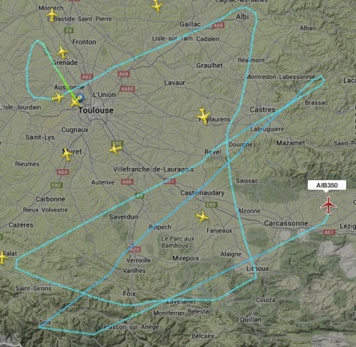 Airbus A350 XWB First flight Path (from flightradar24.com)